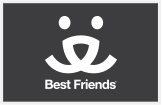 Black and white Best Friends Animal Society logo